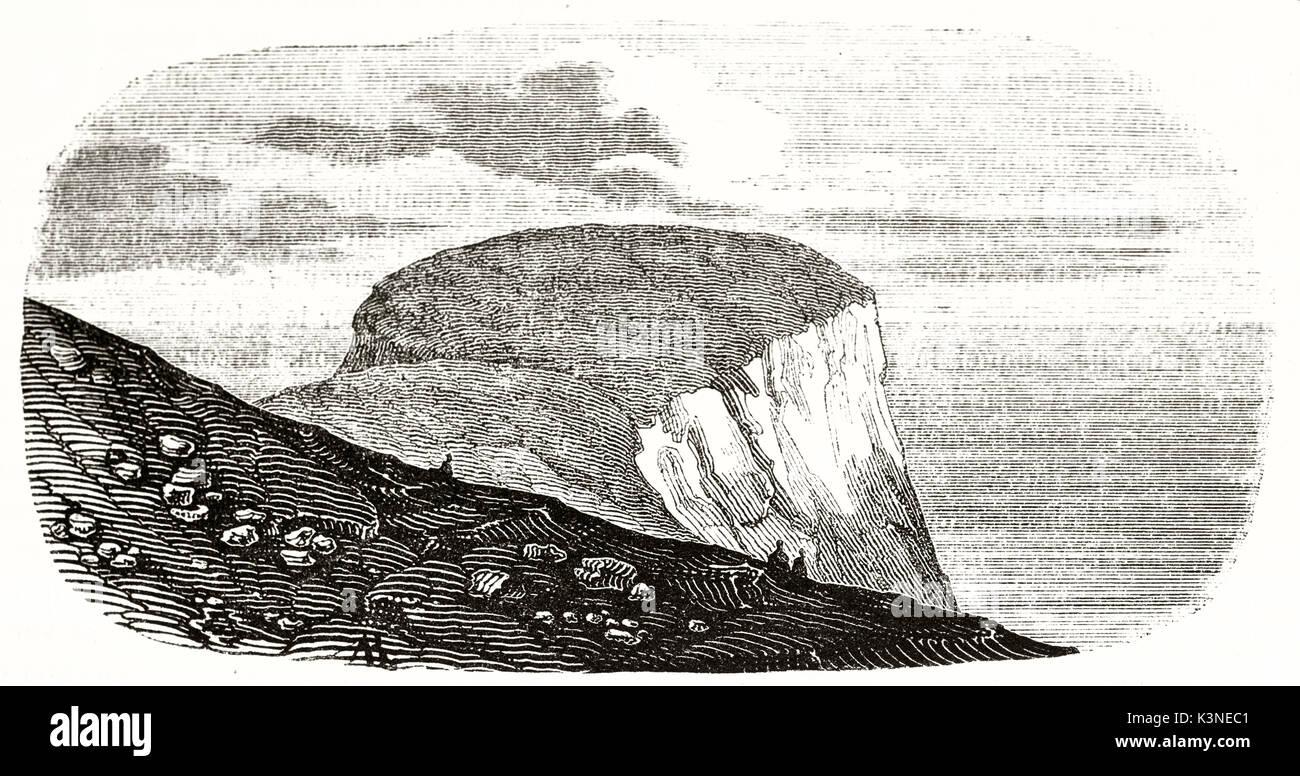 Alte Ansicht von Nordkap Norwegen in einer antiken Abbildung mit einer sehr regelmäßigen schlüpfen, dargestellt. Von unbekannter Autor auf Magasin Pittoresque Paris 1839 veröffentlicht. Stockbild