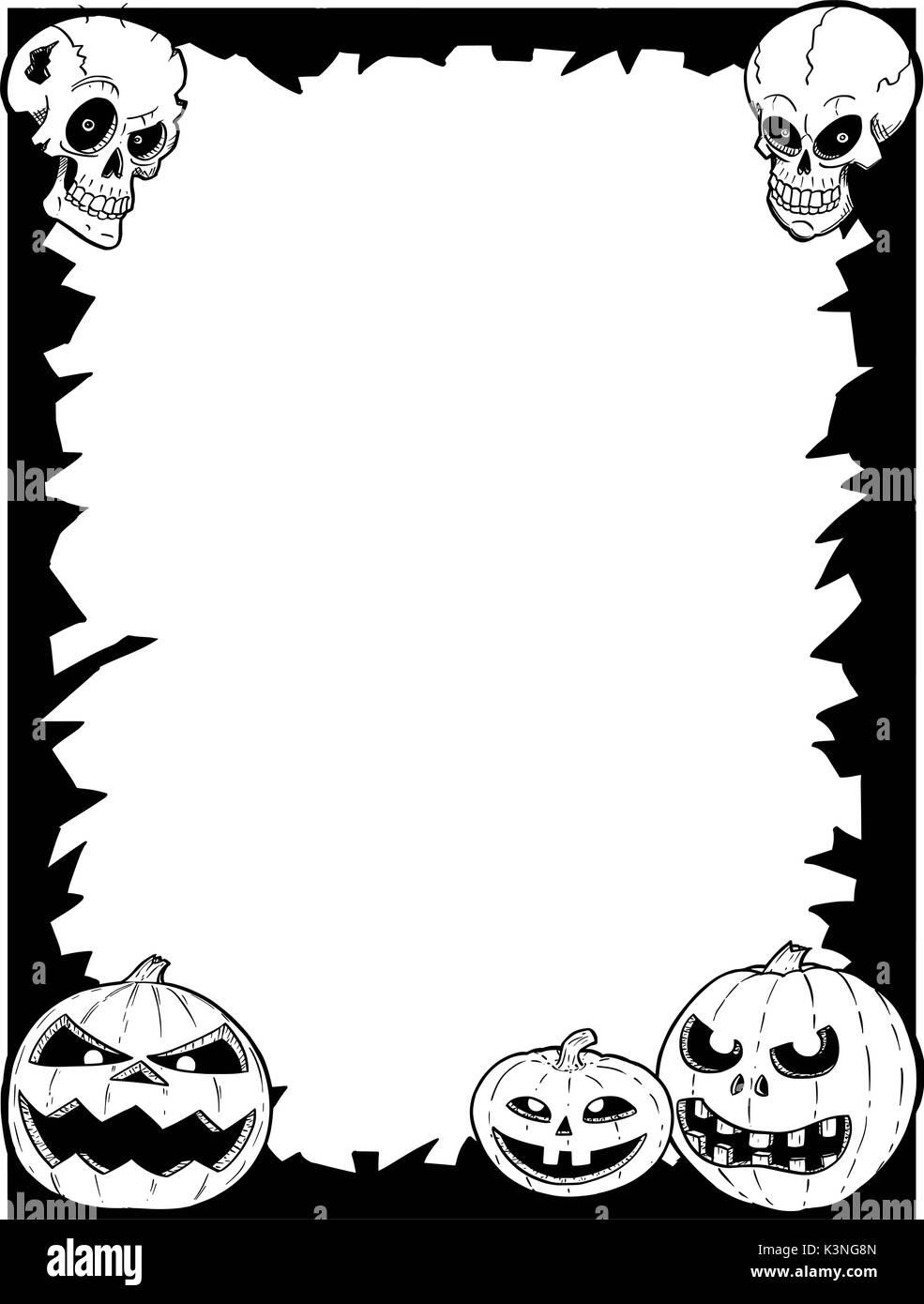 Hand Zeichnung cartoon Halloween Rahmen mit Totenkopf und Kürbis ...