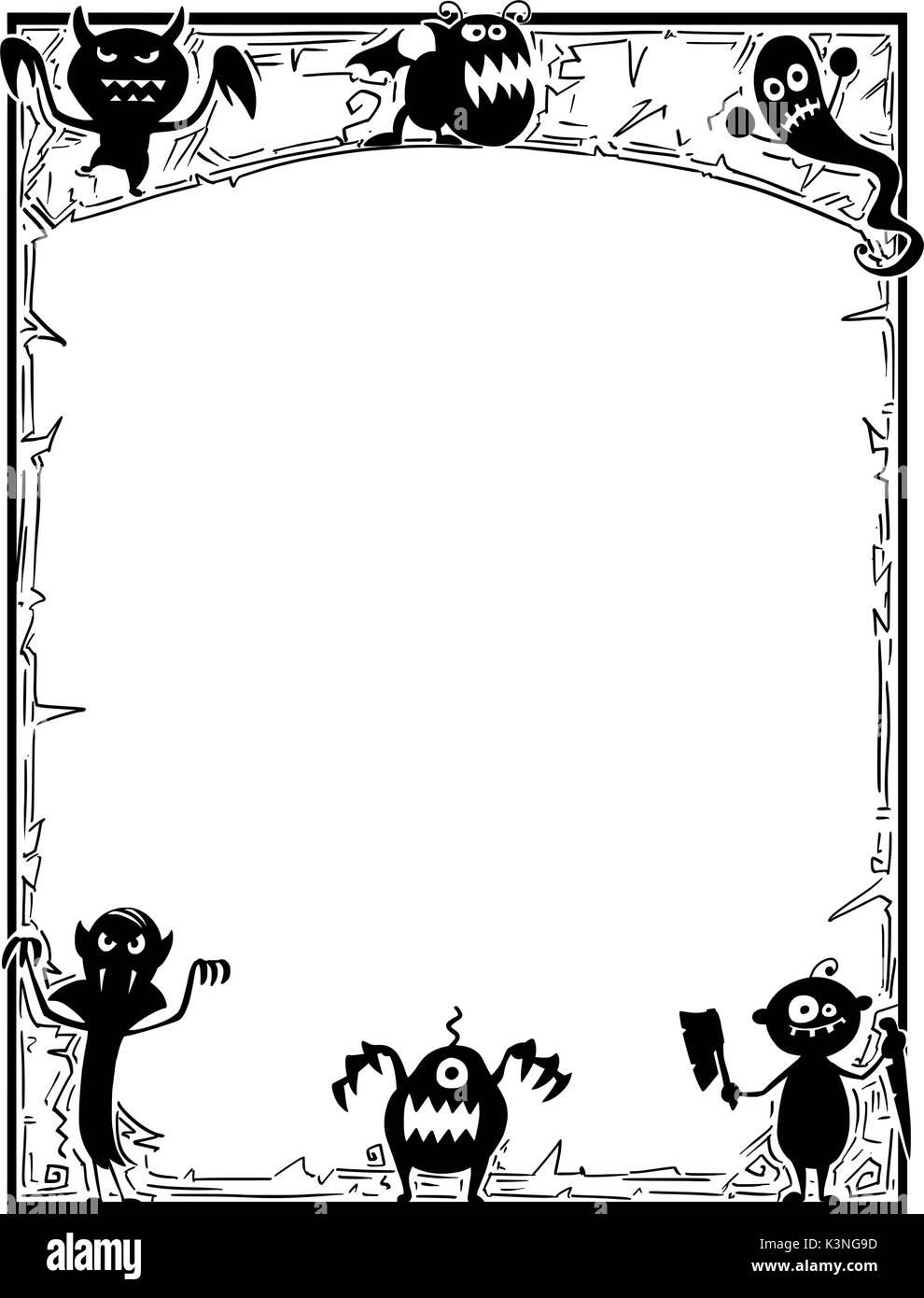 Hand Zeichnung cartoon Halloween Rahmen mit niedlichen Monster ...