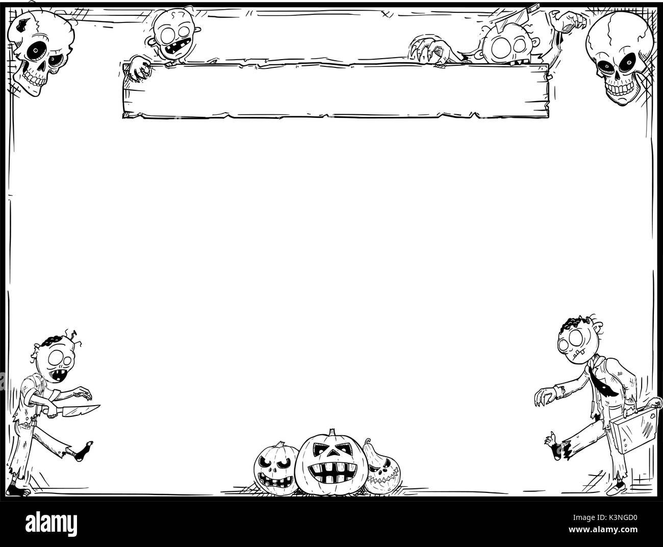 Hand Zeichnung cartoon Halloween Rahmen mit cute zombie Schädel und ...