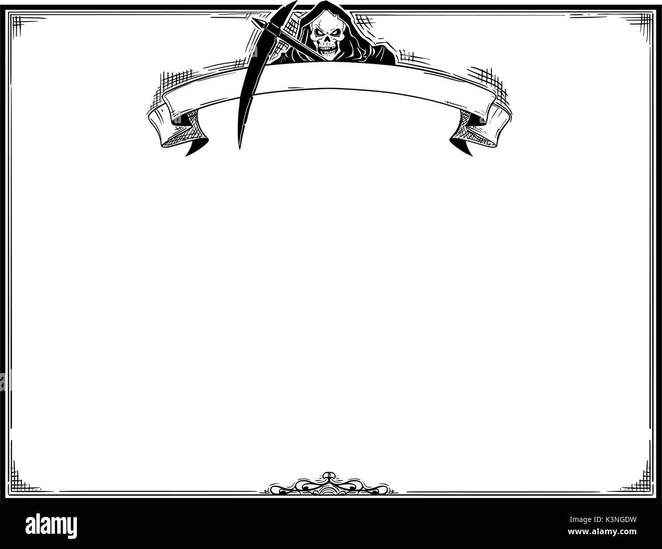 Hand Zeichnung cartoon Halloween Rahmen mit Grim Reaper in der ...