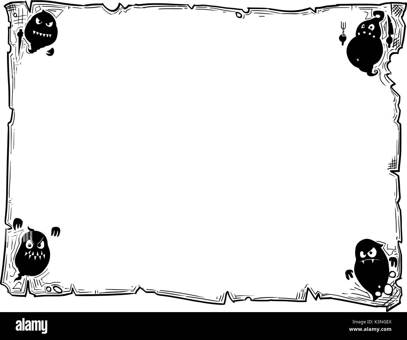 Hand Zeichnung cartoon Halloween Rahmen Rolle Blatt Pergament mit ...