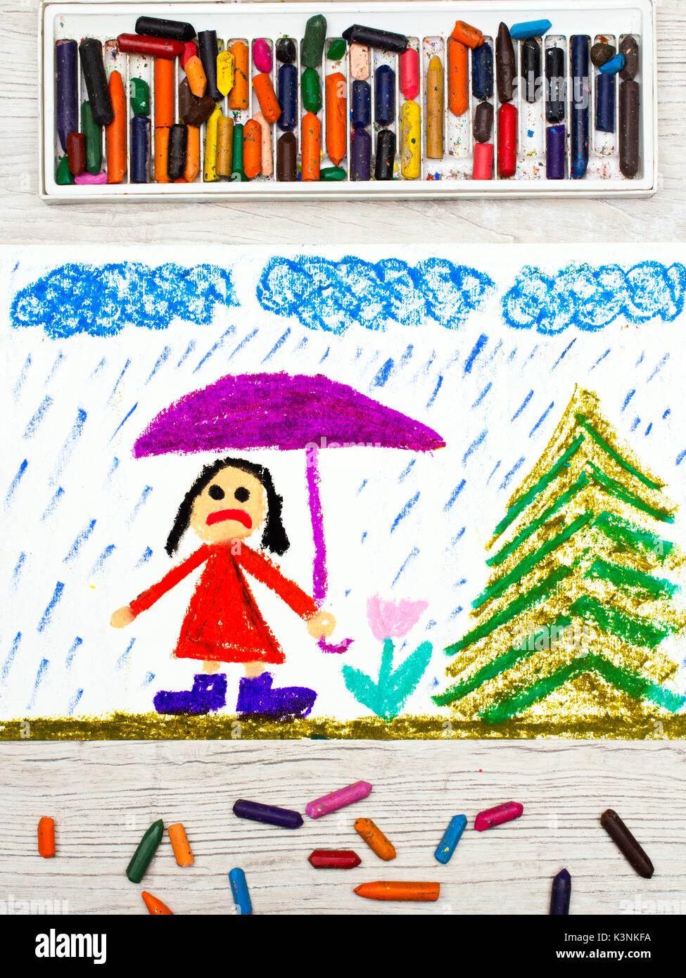 foto der bunten zeichnung regenwetter und traurigen
