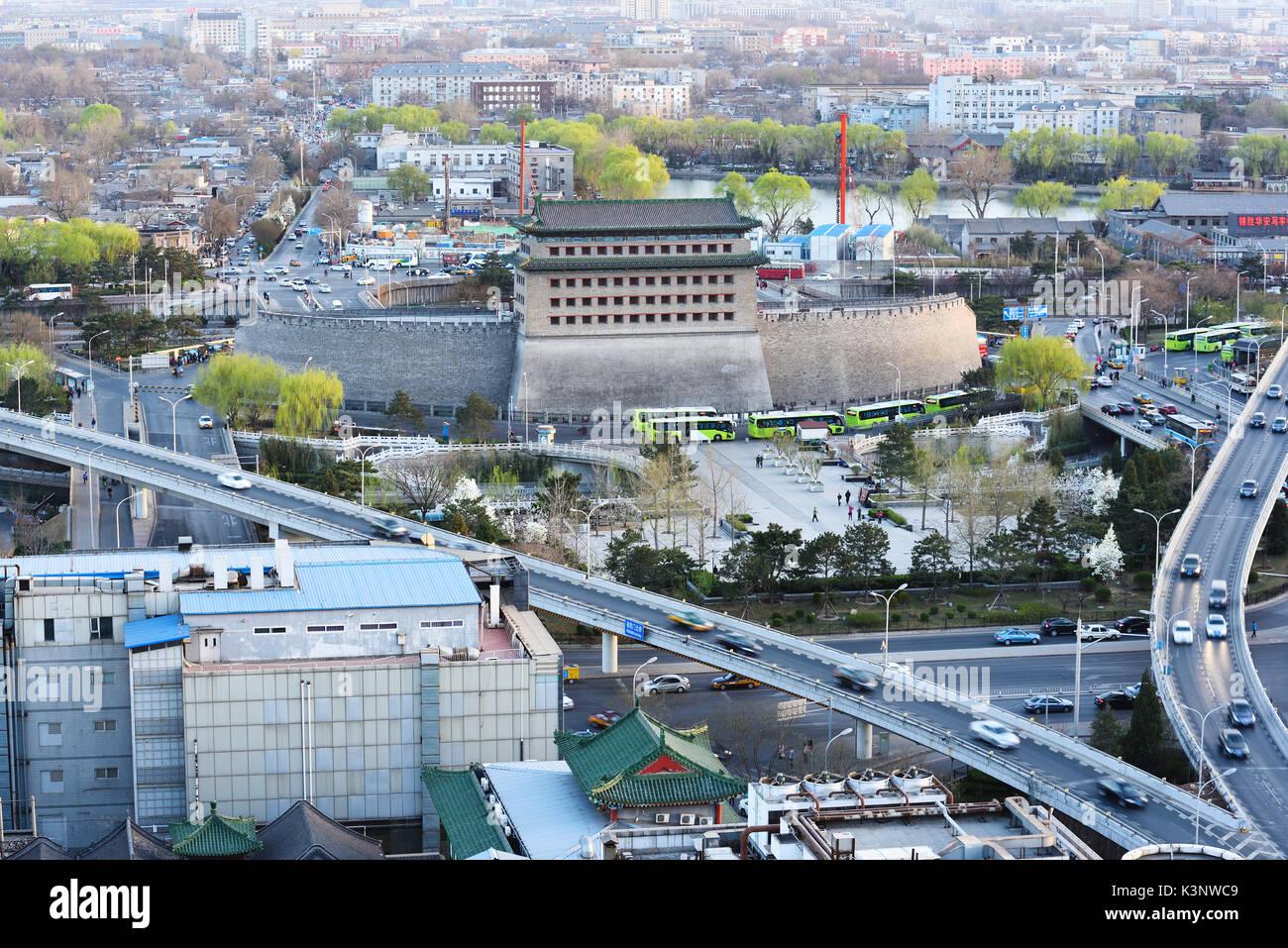 Deshengmen Pfeil Turm Landschaft, es verwendet eines der Stadttore des alten Peking zu sein. Stockfoto