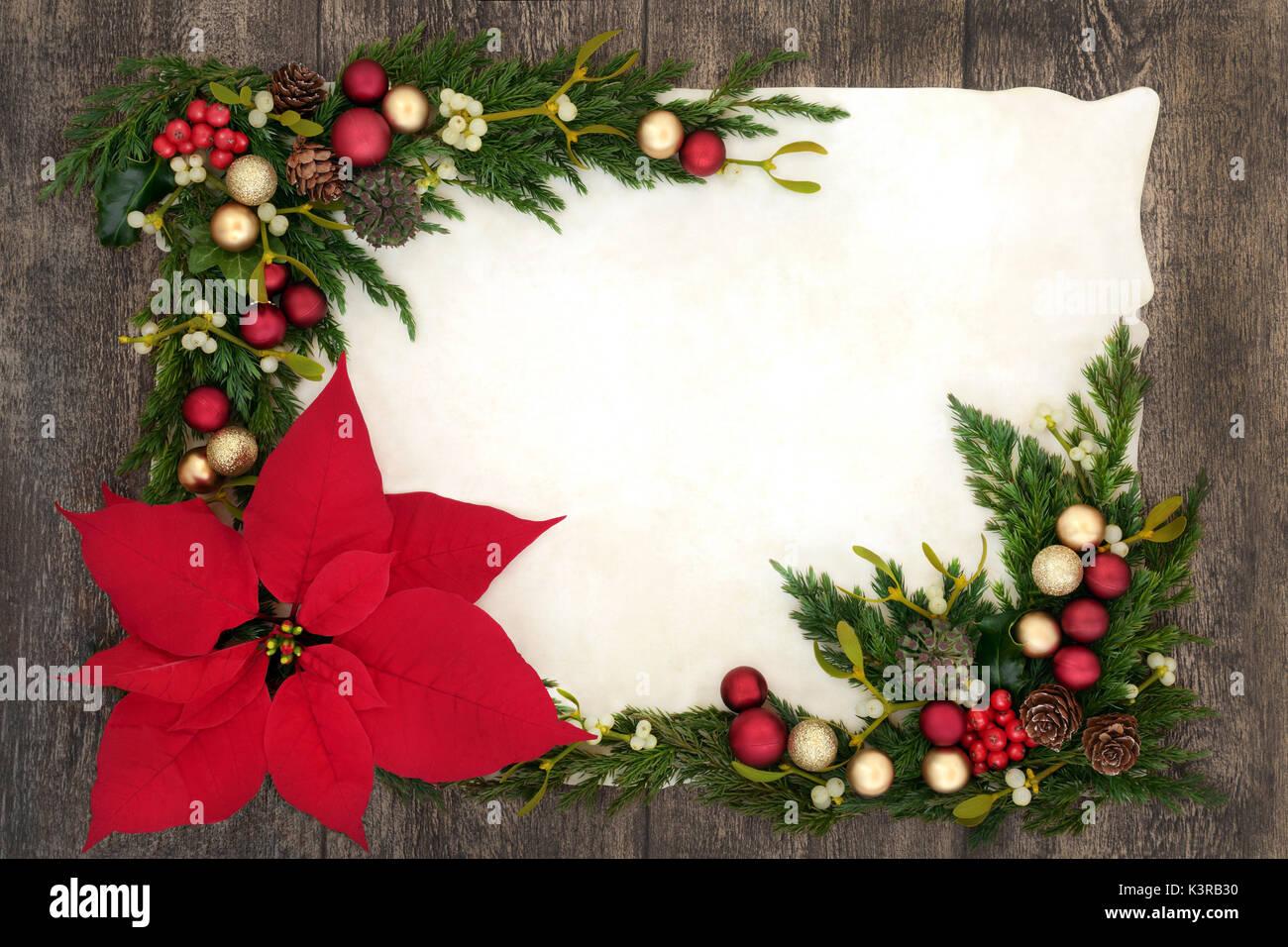 Weihnachten Hintergrund Grenze mit Weihnachtsstern Blume auf ...