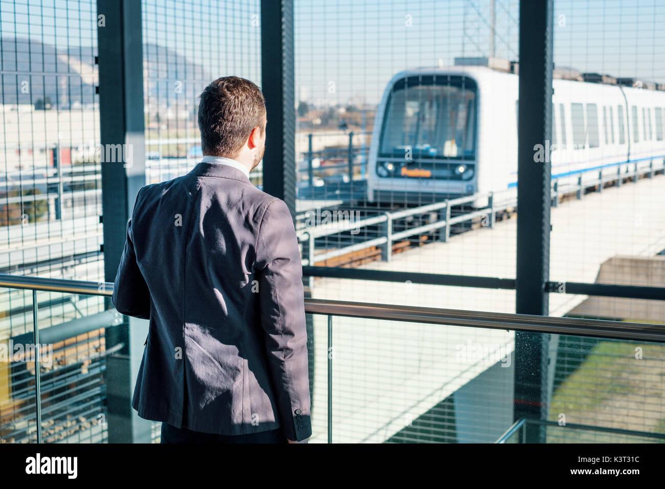 Geschäftsmann Pendler Reisen mit der u-Bahn u Stockbild