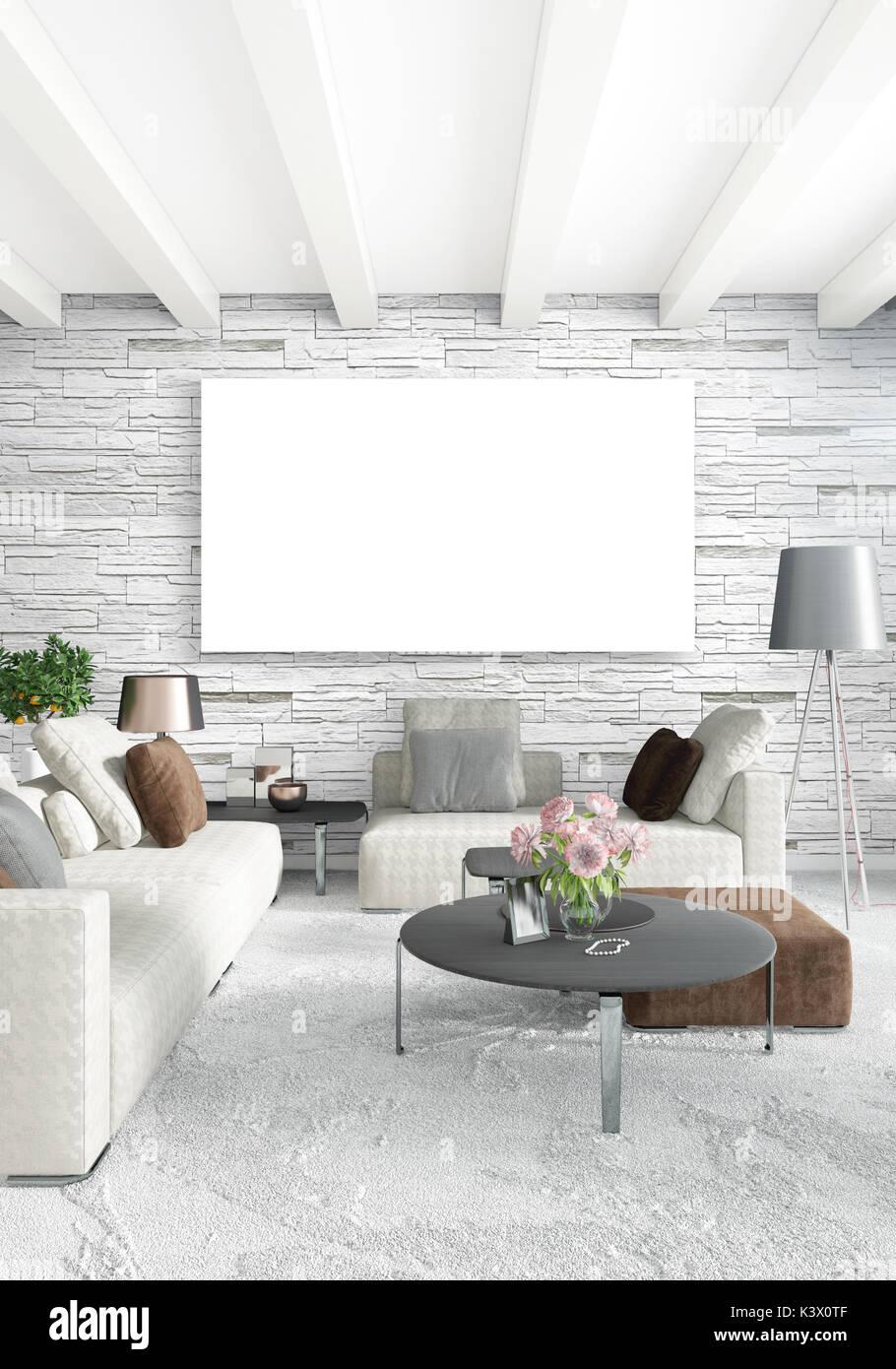 Vertikale moderne Innenausstattung Schlafzimmer oder Wohnzimmer mit ...