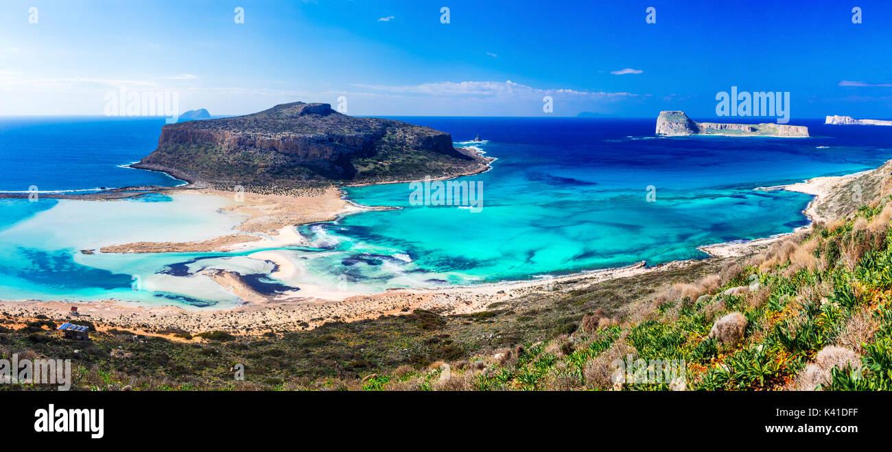 Einer Der Schönsten Strände Griechenlands Balos Bucht Auf Der
