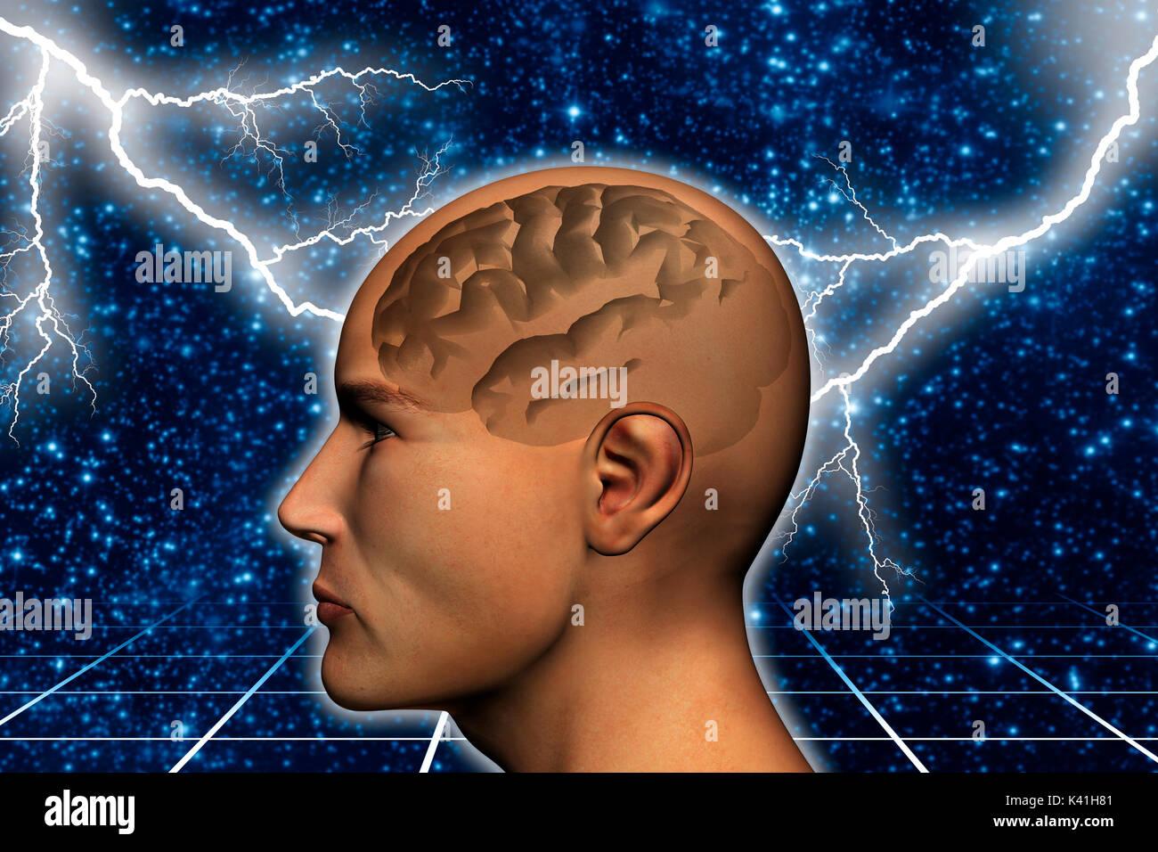 Menschlichen Kopf und Gehirn durch gesehen, Brainstorming von Ideen Konzept Stockbild
