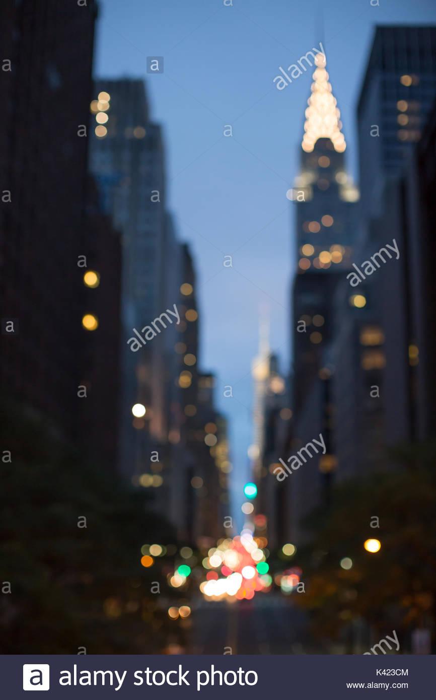 Unscharfer Blick auf 42 Straße Stockbild