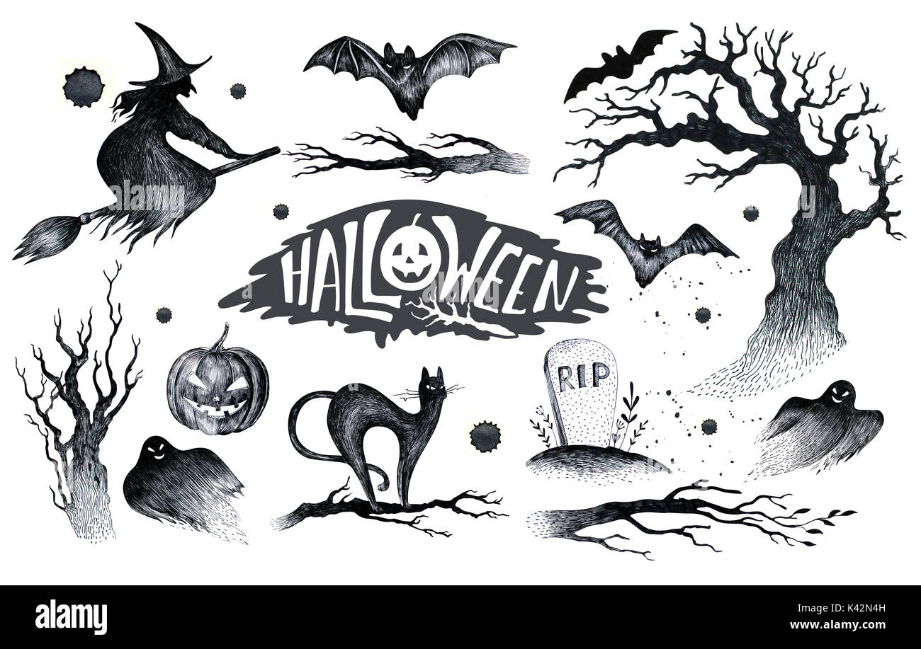halloween hand zeichnung schwarz wei grafik symbol gezeichnet hallo stockfoto bild 157412433. Black Bedroom Furniture Sets. Home Design Ideas