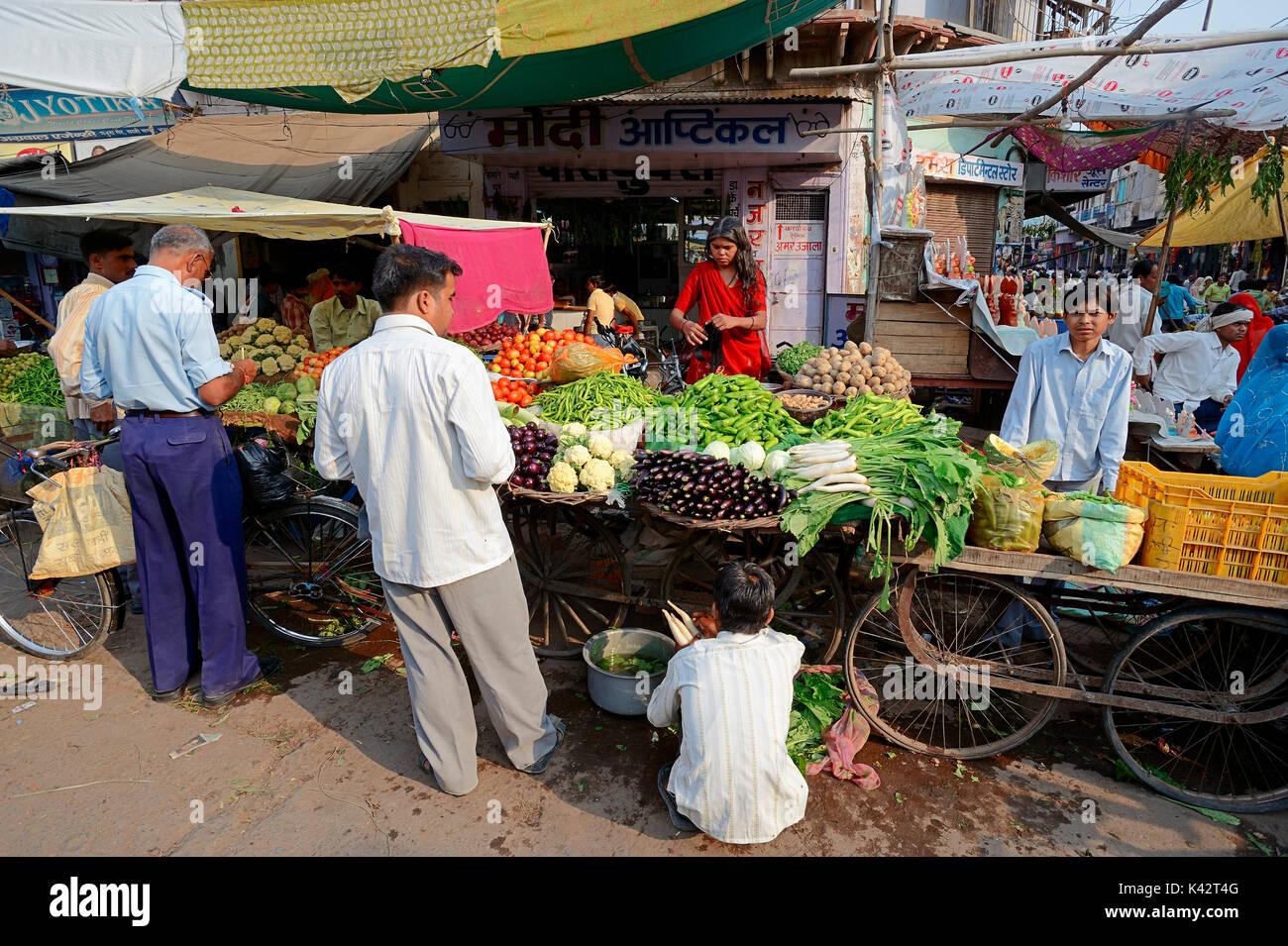 Marktstand mit Gemüse, Bharatpur, Rajasthan, Indien | Marktstand Mit Gemuese, Bharatpur, Rajasthan, Indien Stockbild
