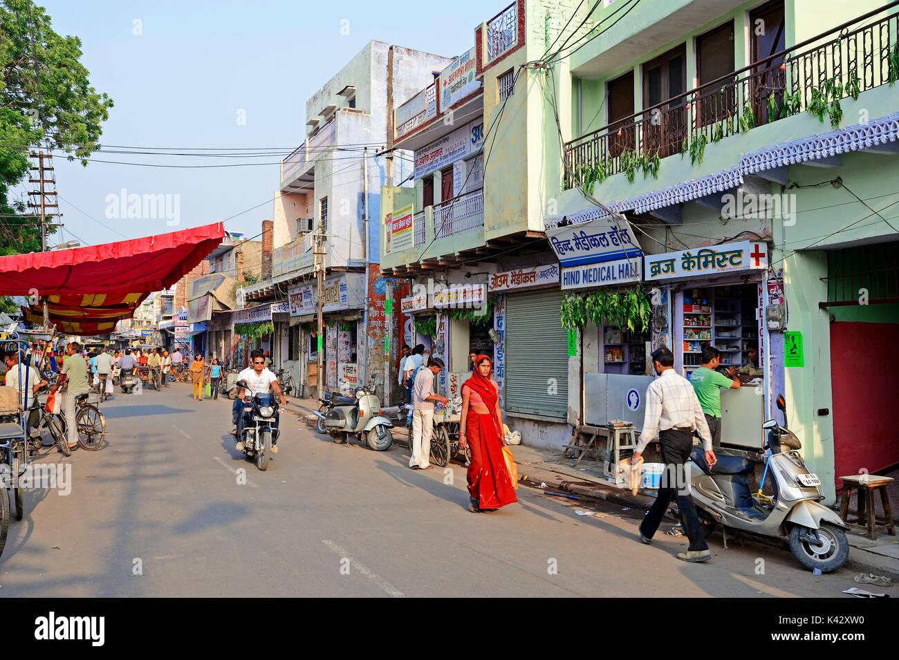 Shopping Street, Bharatpur, Rajasthan, Indien | Einkaufsstrasse, Bharatpur, Rajasthan, Indien Stockbild