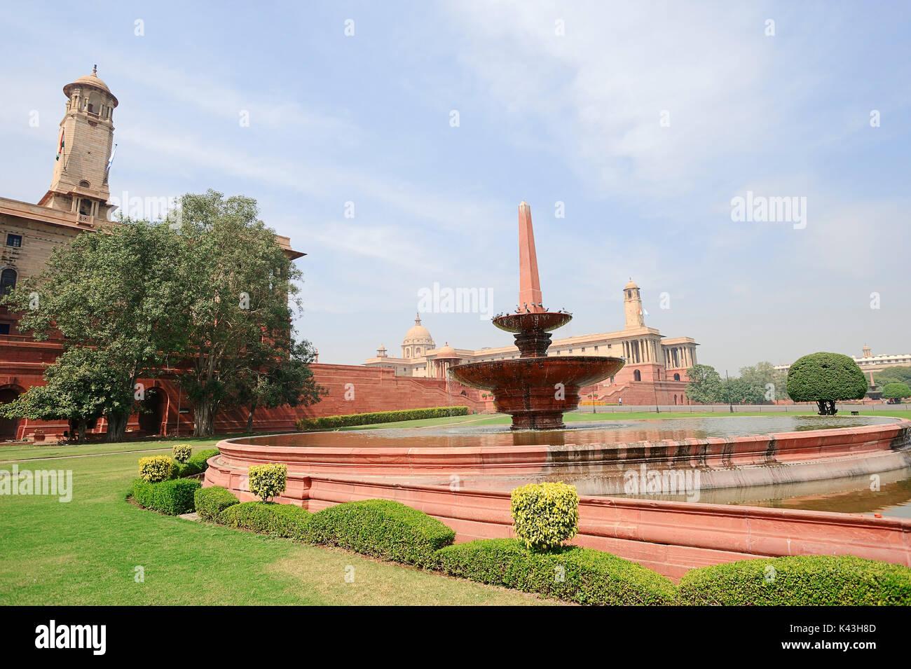 Brunnen und Regierungsgebäude, New Delhi, Indien | Brunnen und Regierungsgebaeude, Neu-Delhi, Indien Stockbild