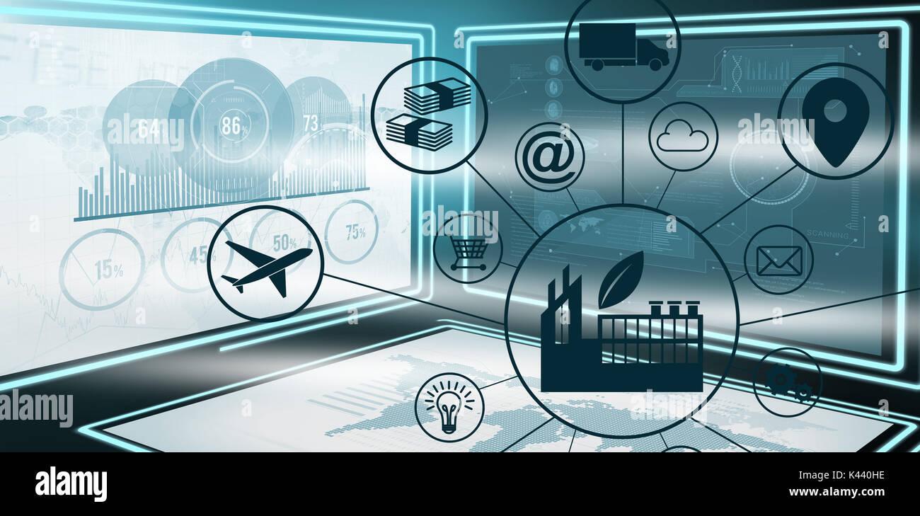 Das zusammengesetzte Bild der Industrie inmitten verschiedene Symbole gegen Grafik, die sich durch Unternehmenswachstum Diagramme in 3d Stockbild