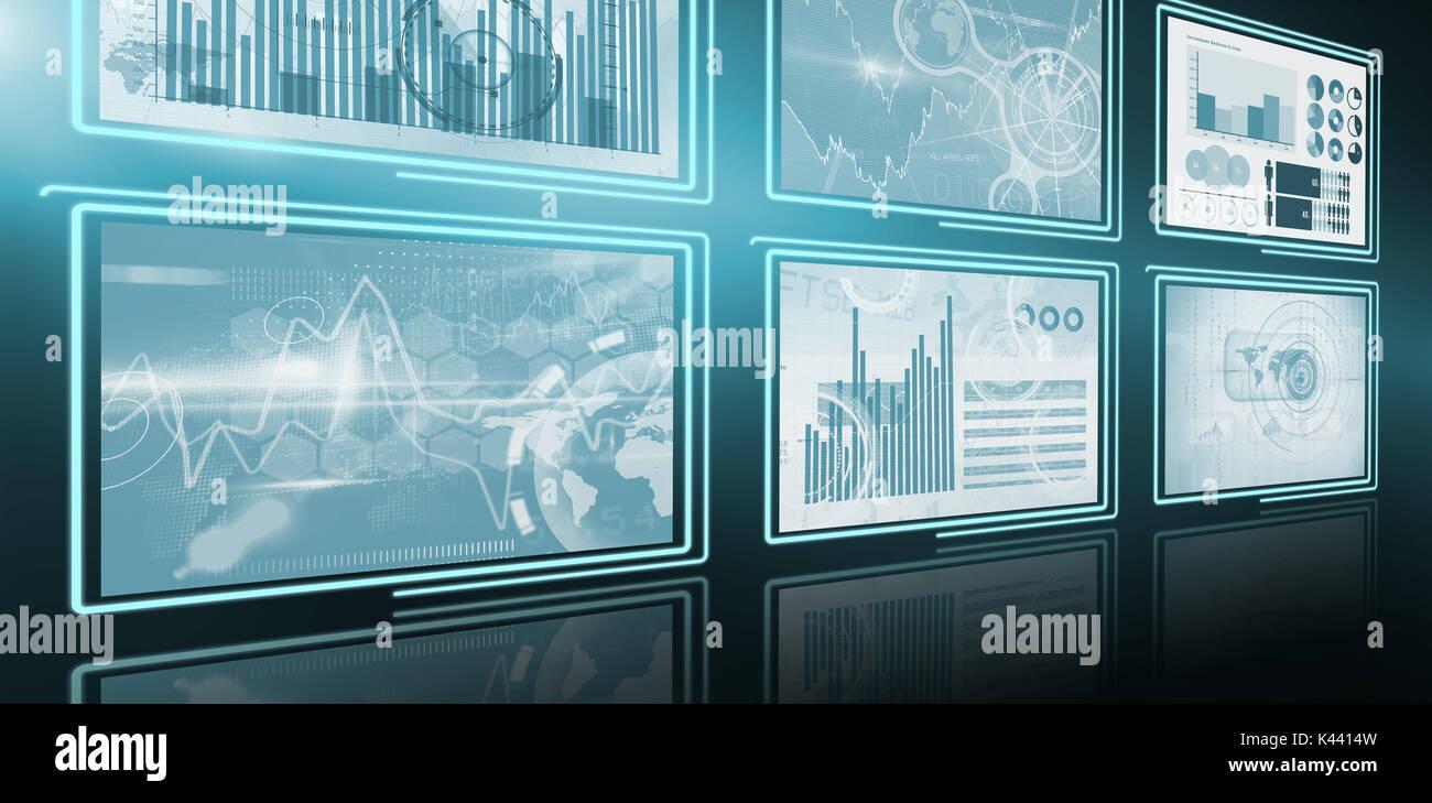 3d Digitales Bild von Unternehmenswachstum Diagramme Stockbild