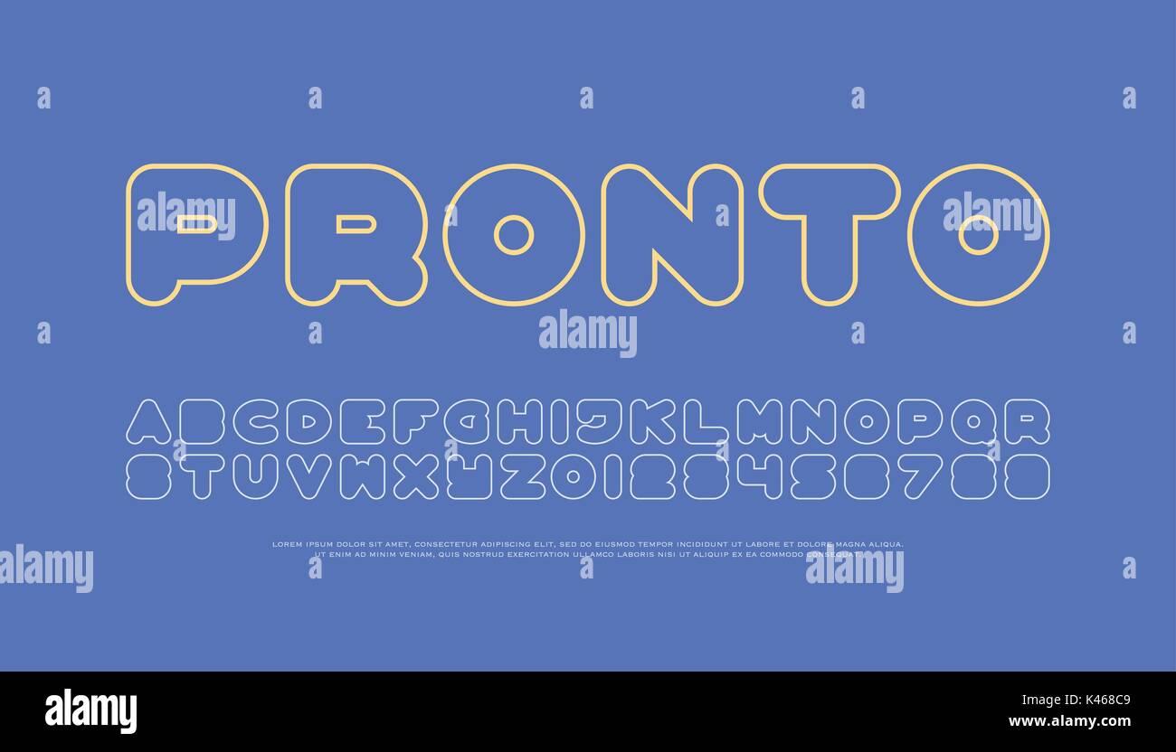 Zeitgenössische, dünne Linie stil Alphabet Buchstaben und Zahlen ...