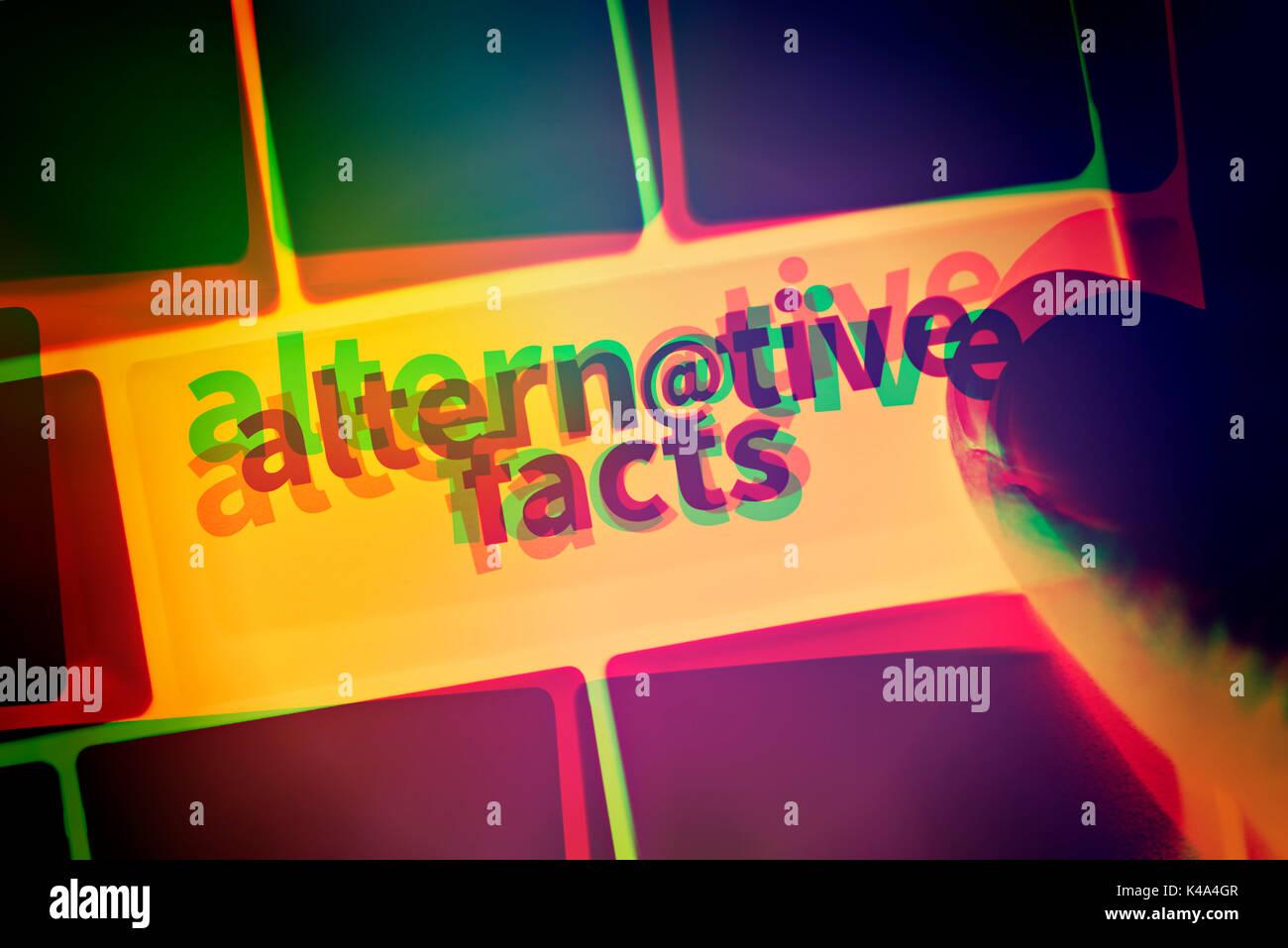 Alternative Fakten Computer Taste Stockbild