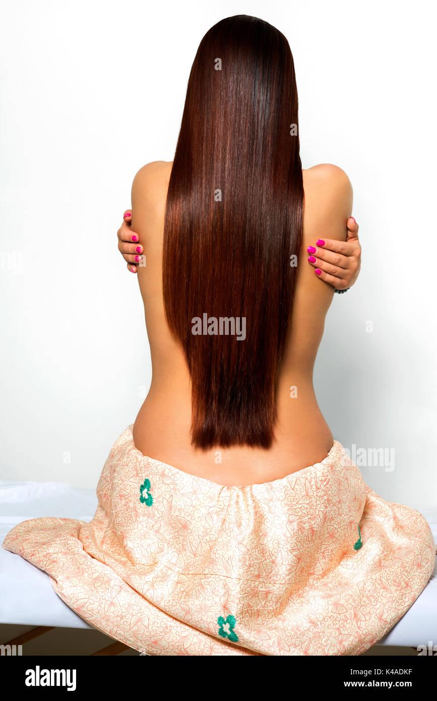 Luxuriöse Haar öl Behandelt Schönheit Frau Mit Luxuriösen Lange