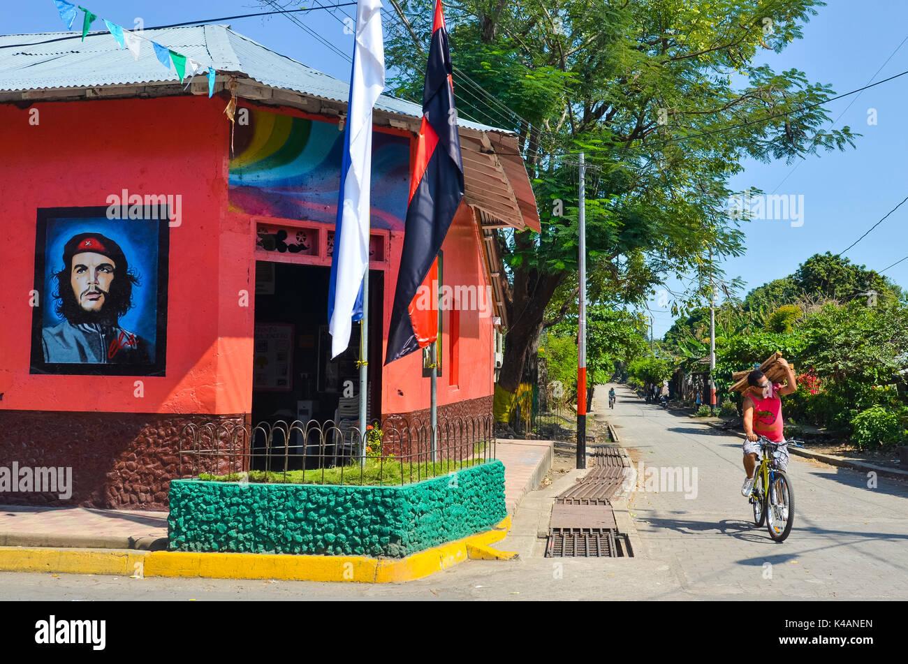 Malen mit Che Guevara auf der Casa del Frente Sandinista, Altagracia, Ometepe, Nicaragua See (Lago Cocibolca), Nicaragua Stockbild