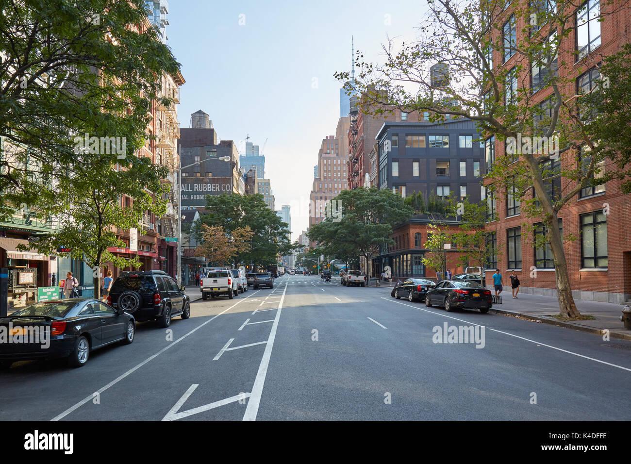Tribeca Viertel leere Straße am Morgen an einem sonnigen Sommertag in New York Stockbild