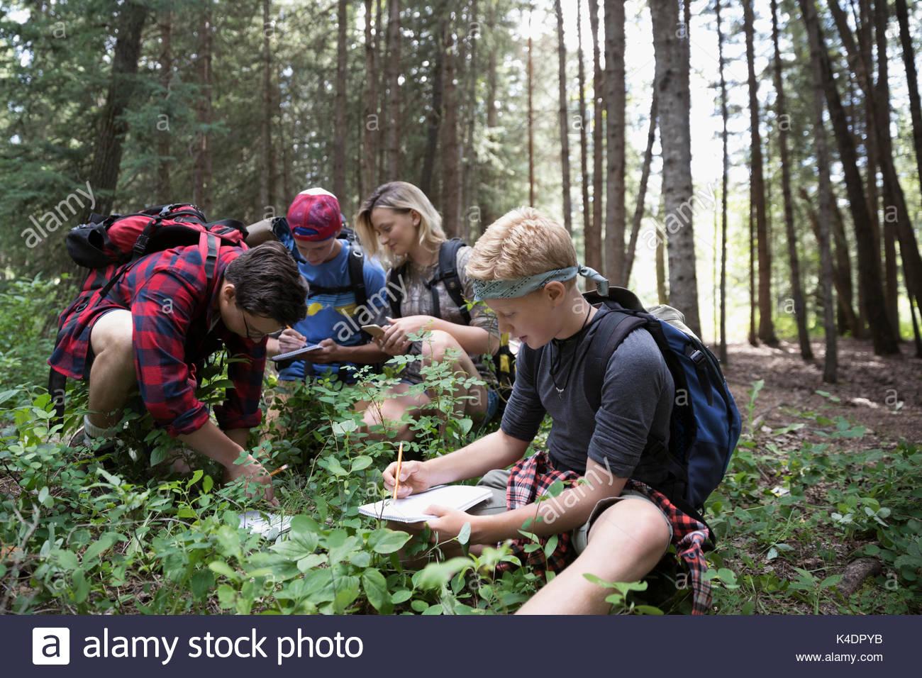 Teenage Outdoor School Junge Schüler Erkunden Unterholz Im Wald