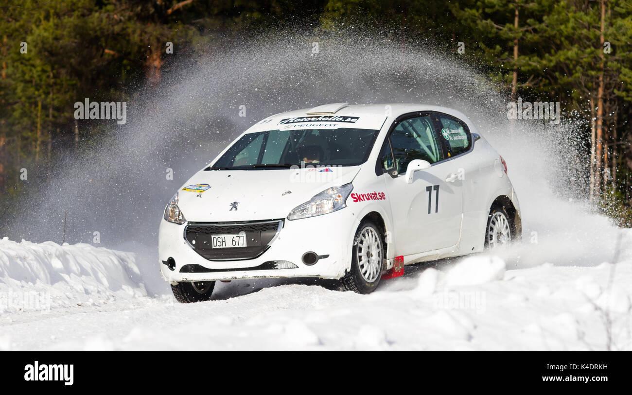 Rallye in Schweden Stockbild