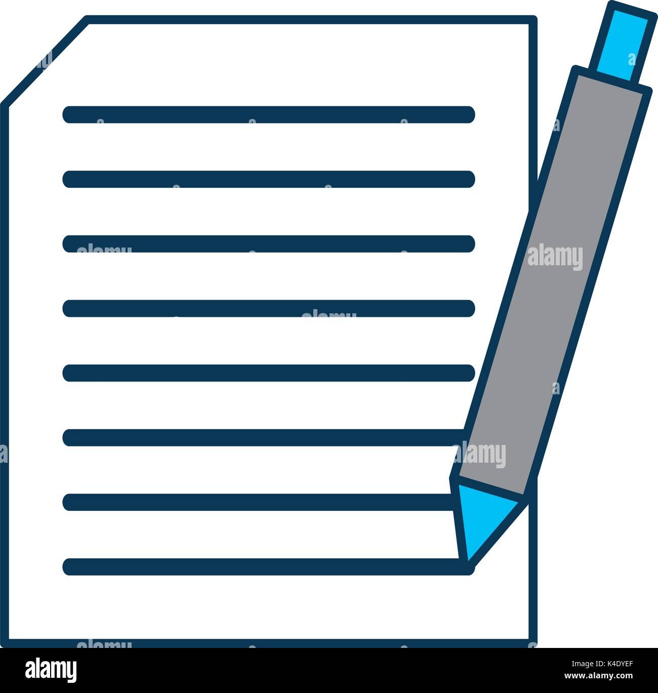 Blatt Papier Mit Text Und Pen Dokument Schreiben Vertrag Vektor