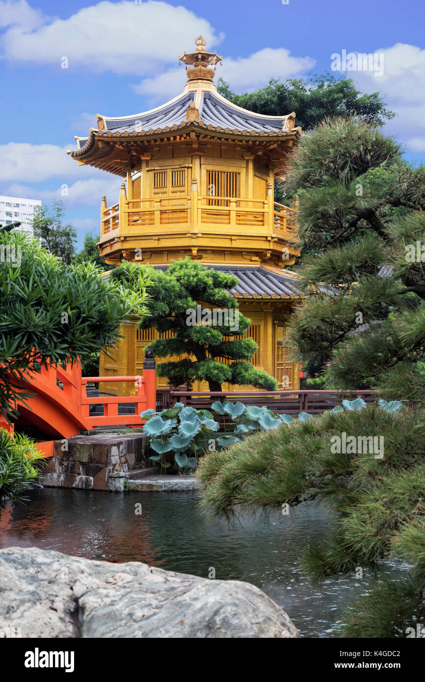 Pavillon der Absolute Perfektion in Nan Lian Garden, Chi Lin Nunnery, Hongkong, China Stockbild