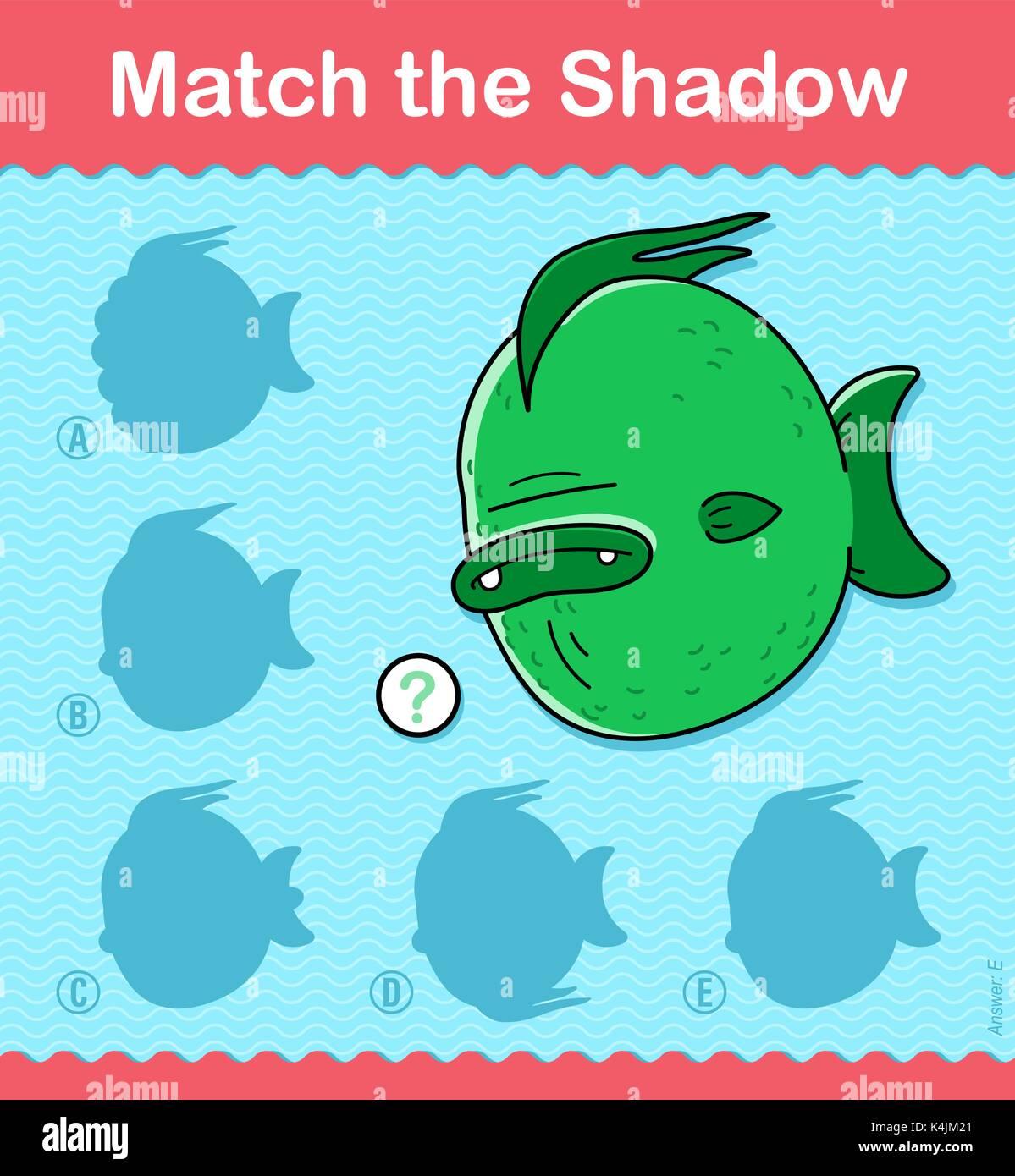 Ordnen Sie die Schatten Kinder pädagogische puzzle Spiel mit bunten ...
