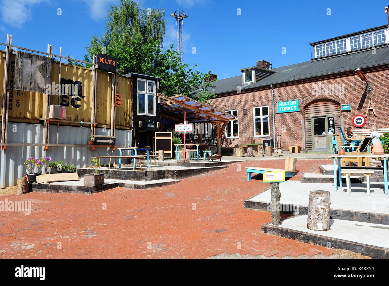 Godsbanen, ein Zentrum für die kulturelle Produktion in Aarhus, Dänemark. Stockbild