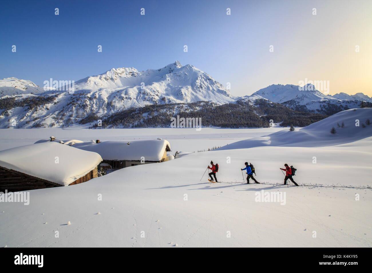 Wanderer auf Schneeschuhen mit Piz da la Margna auf Hintergrund, Spluga, Schweiz Stockbild