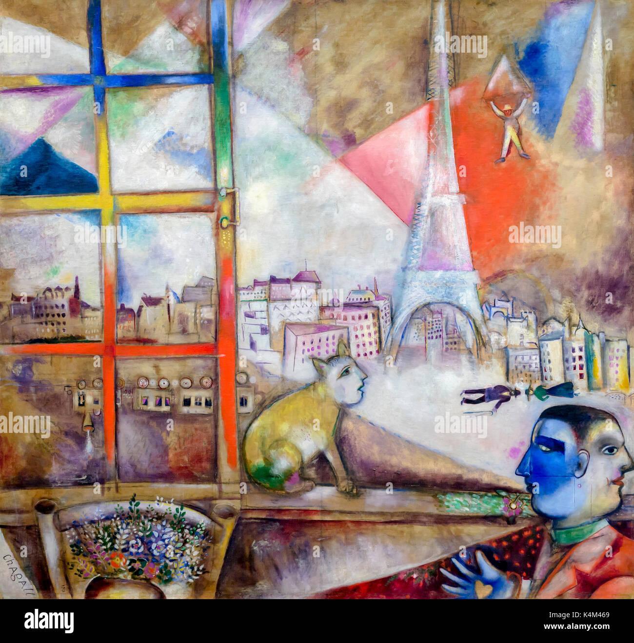 Paris durch das fenster von marc chagall 1913 solomon r guggenheim museum manhattan new - Braunen durch fenster ...