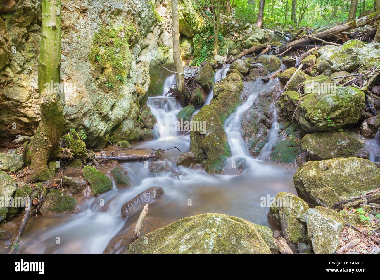 Slowakei - Der Wasserfall in Zadielska Tal im Nationalpark Slovensky Kras. Stockbild