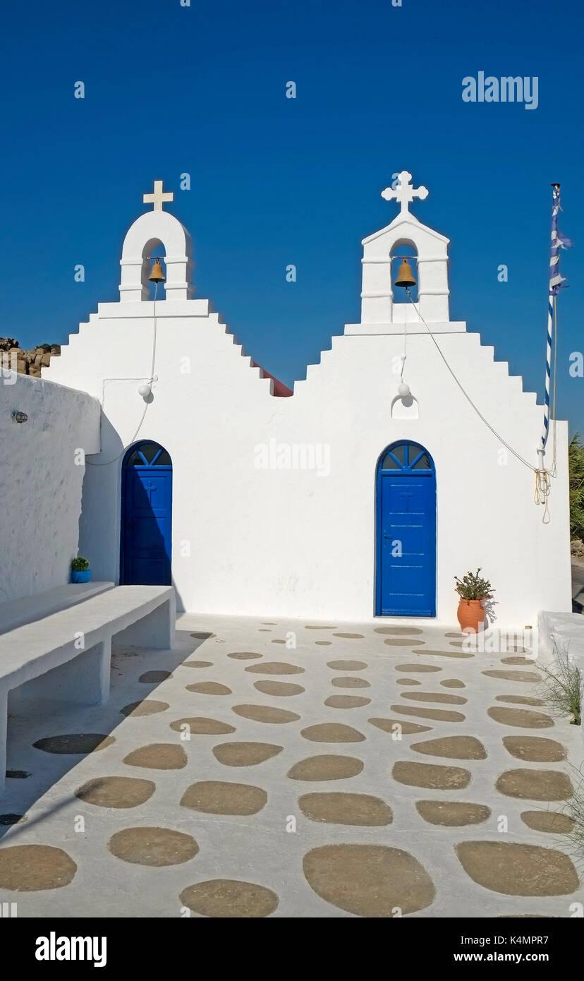 Der griechisch-orthodoxen Kirche, Kapelle Insel Mykonos Kykladen Griechenland EU Europäische Union Europa Stockfoto