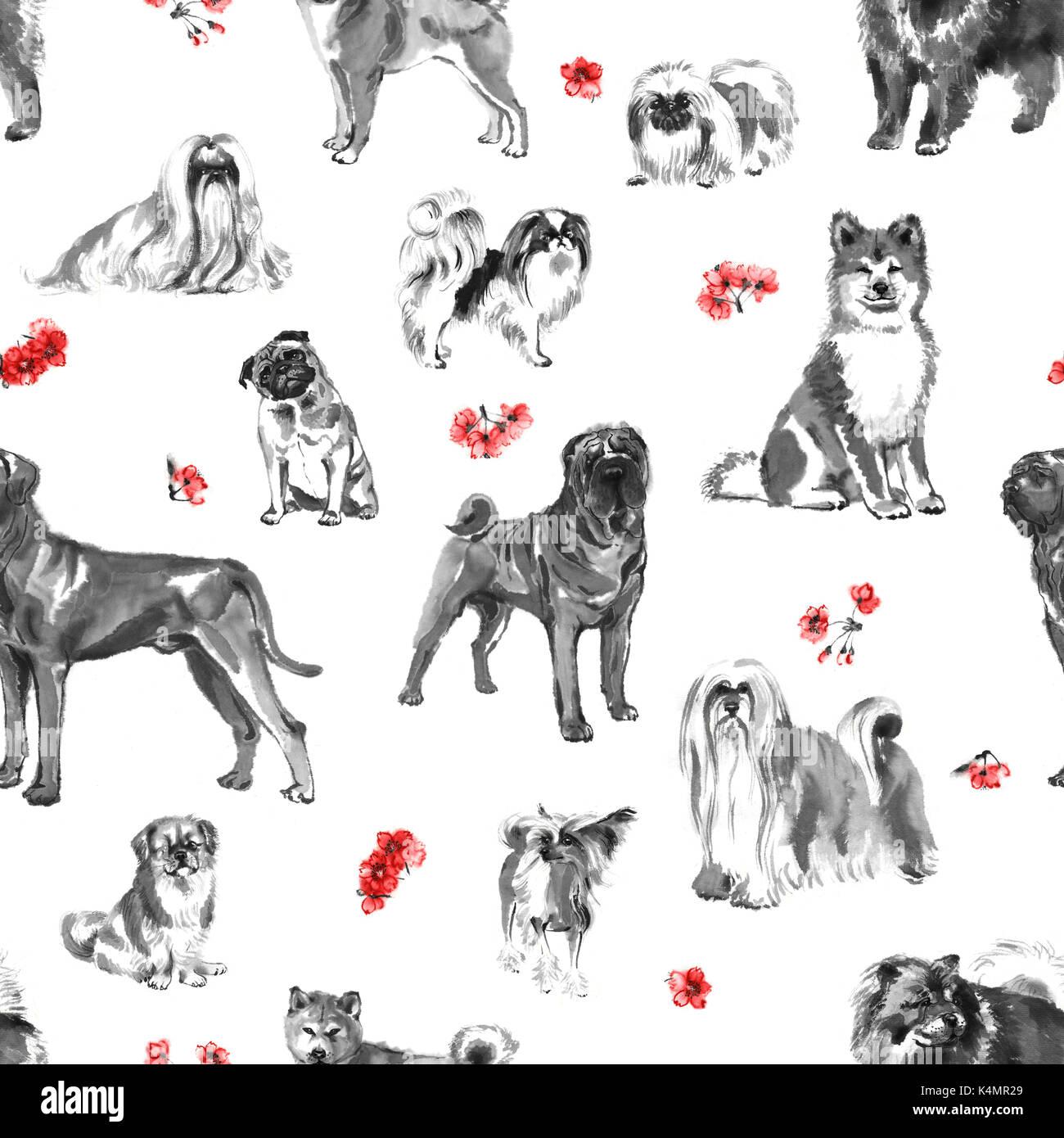 nahtlose muster mit orientalischen hunde und kirschbl te handgefertigte tuschemalerei auf. Black Bedroom Furniture Sets. Home Design Ideas