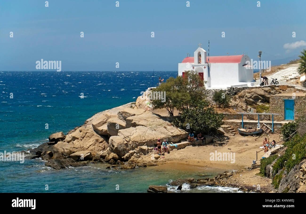 Agios Charalambos Kapelle Kirche Stadt Mykonos Chora Kykladen Insel Ägäis Griechenland EU Europäische Union Europa Stockfoto
