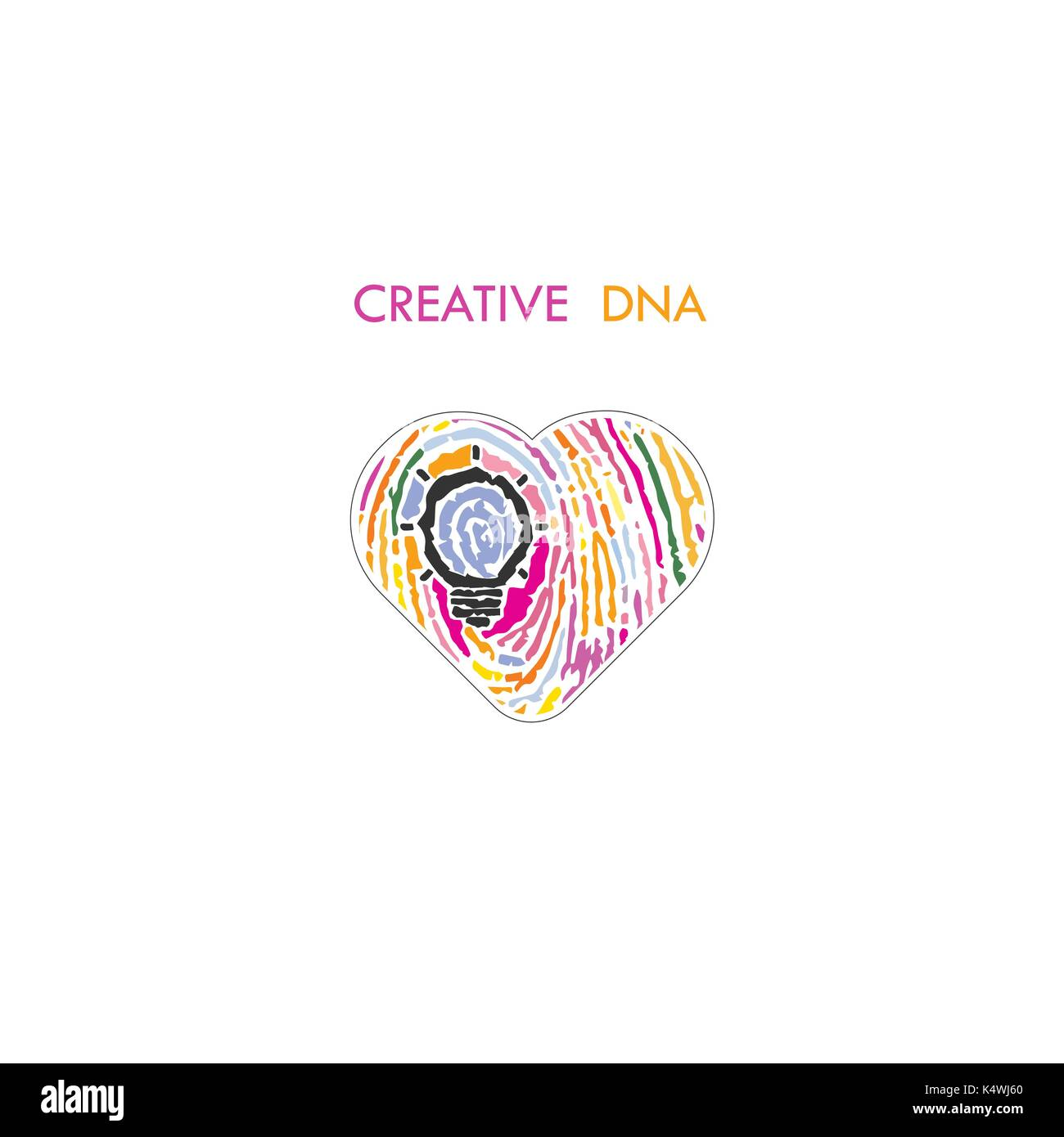 kreative glhbirne idee konzept und fingerabdruck muster mit herz bildung oder geschftsideen kreativitt oder innovation konzept constructioni - Konzept Muster