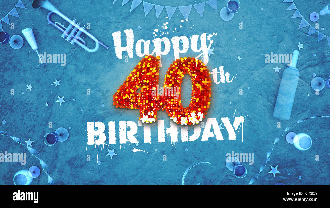 Happy 40th Birthday Card Mit Schonen Details Wie Flasche Wein Champagner Glaser Garland Wimpel Sterne Und Konfetti Hintergrund Blau Rot