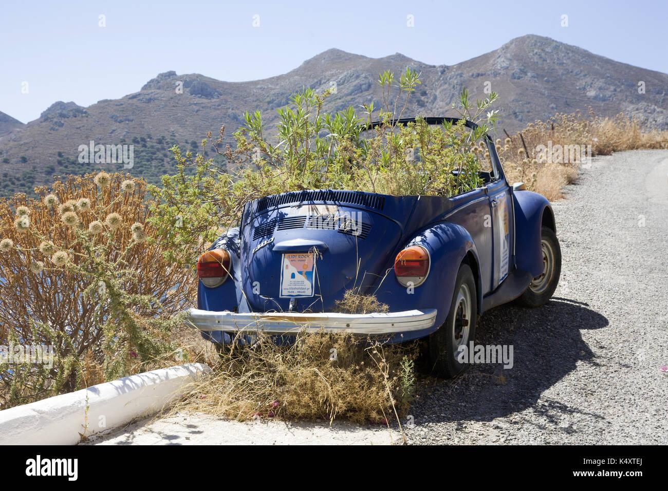 Alte blaue VW Käfer mit wild wachsenden Pflanzen, Tilos, Griechenland Stockbild