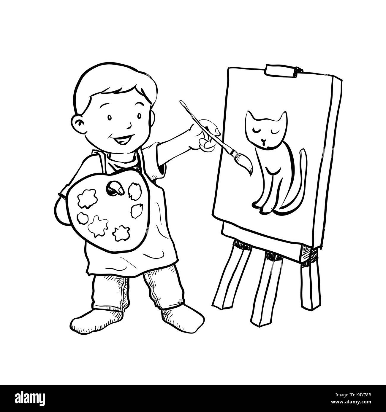 hand zeichnung von cartoon junge maler auf wei em. Black Bedroom Furniture Sets. Home Design Ideas