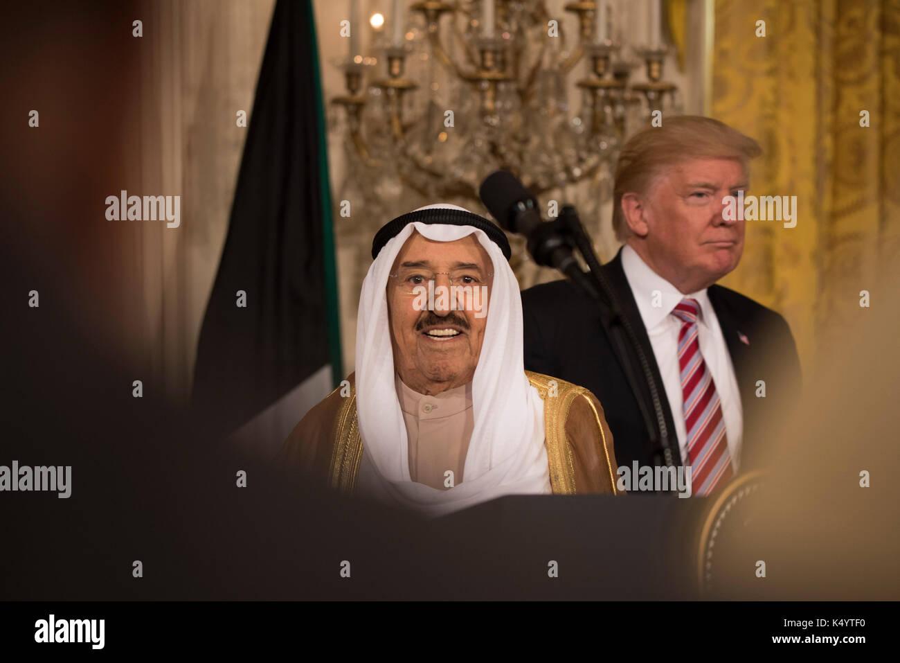 Washington DC, USA. 07 Sep, 2017. Washington DC, 7. September 2017, USA: Präsident Donald J Trumpf hält eine gemeinsame Stockfoto