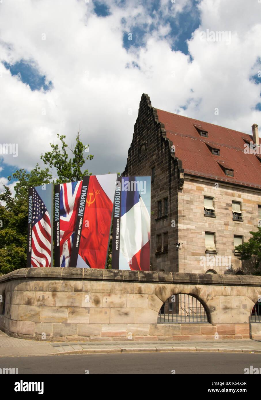 Nürnberg Palast der Justiz ist auch der Ort, an dem die Nachkriegszeit Strafverfahren der NS-Führer Stockbild