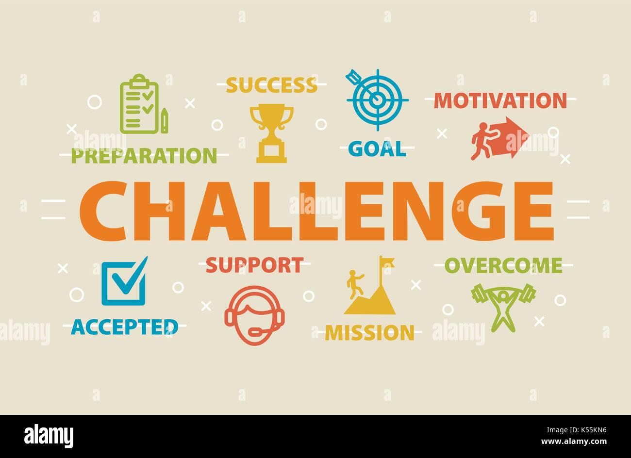 Herausforderung-Konzept mit Symbolen Stockbild