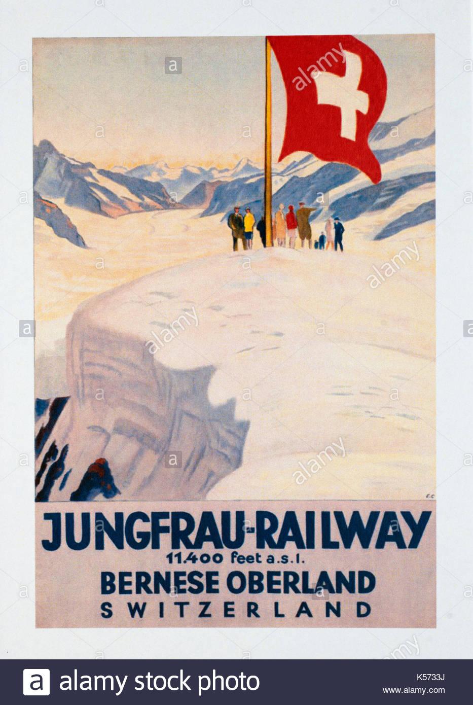 Vintage Travel Poster Werbung Jungfraubahnen Schweiz Stockfoto