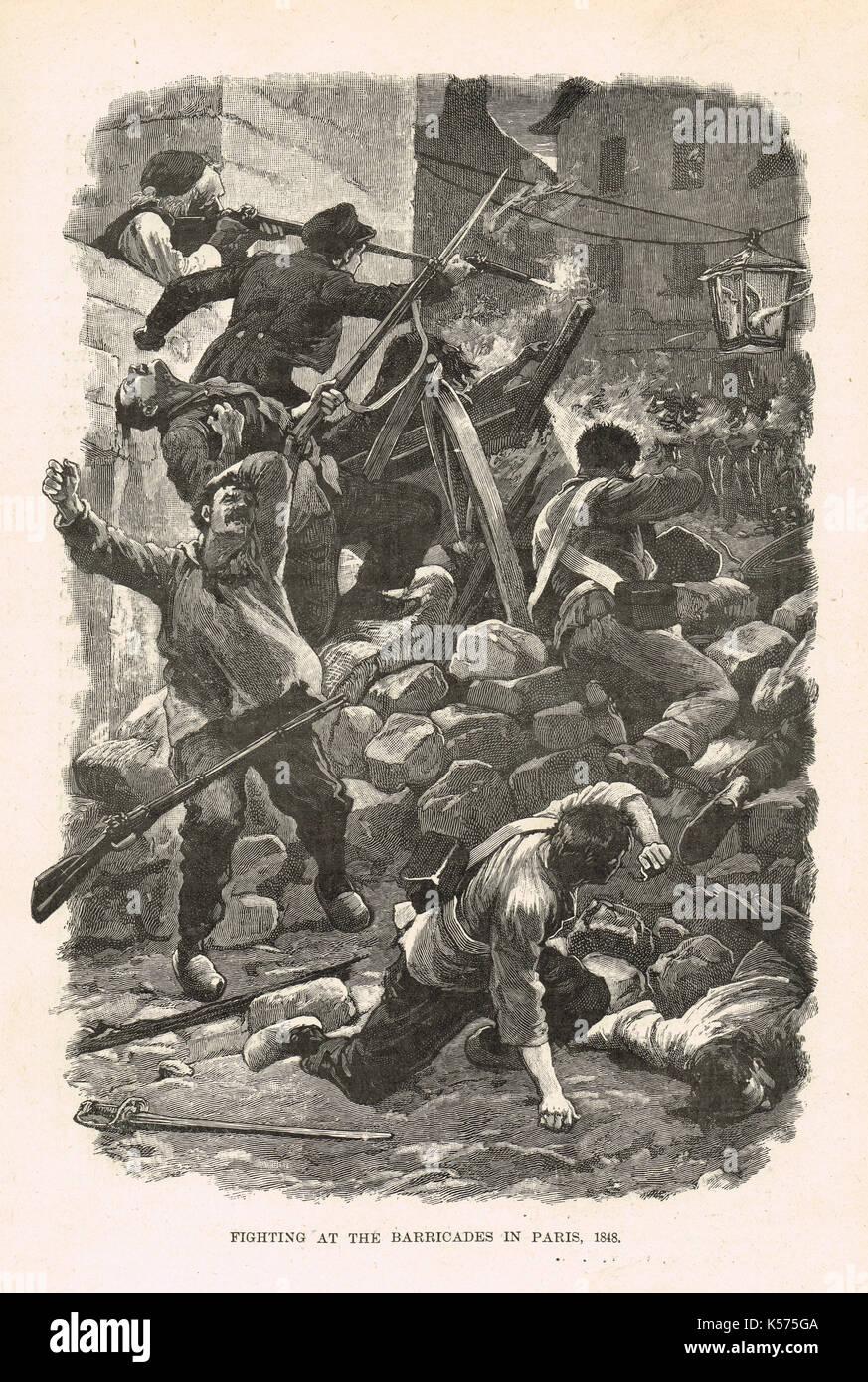 Kämpfe auf den Barrikaden in Paris, Französische Revolution von 1848 Stockbild