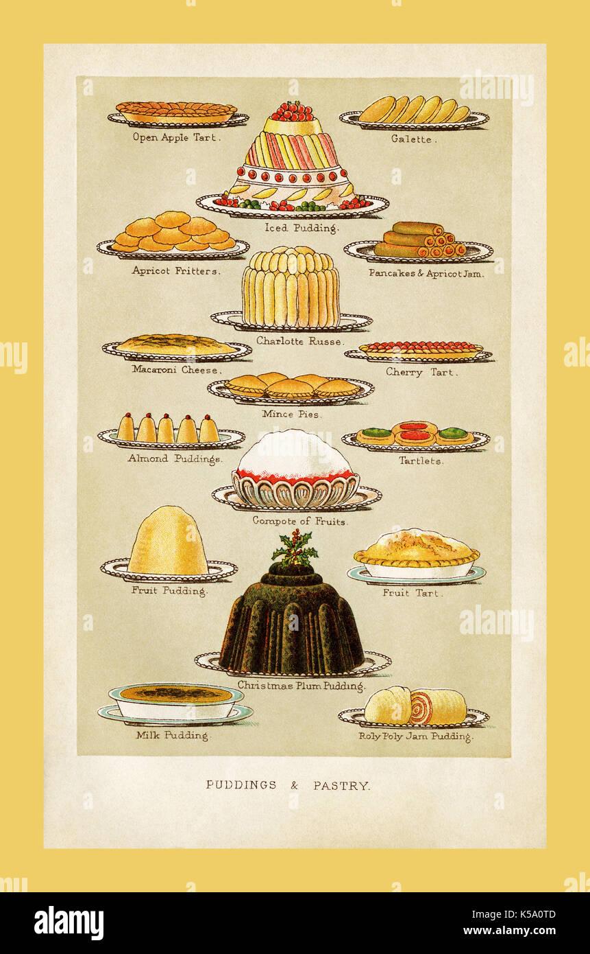 Weihnachten unterhaltsam Vintage viktorianischen 1895 Mrs beeton Puddings und Gebäck vintage Essen Kochbuch Stockbild