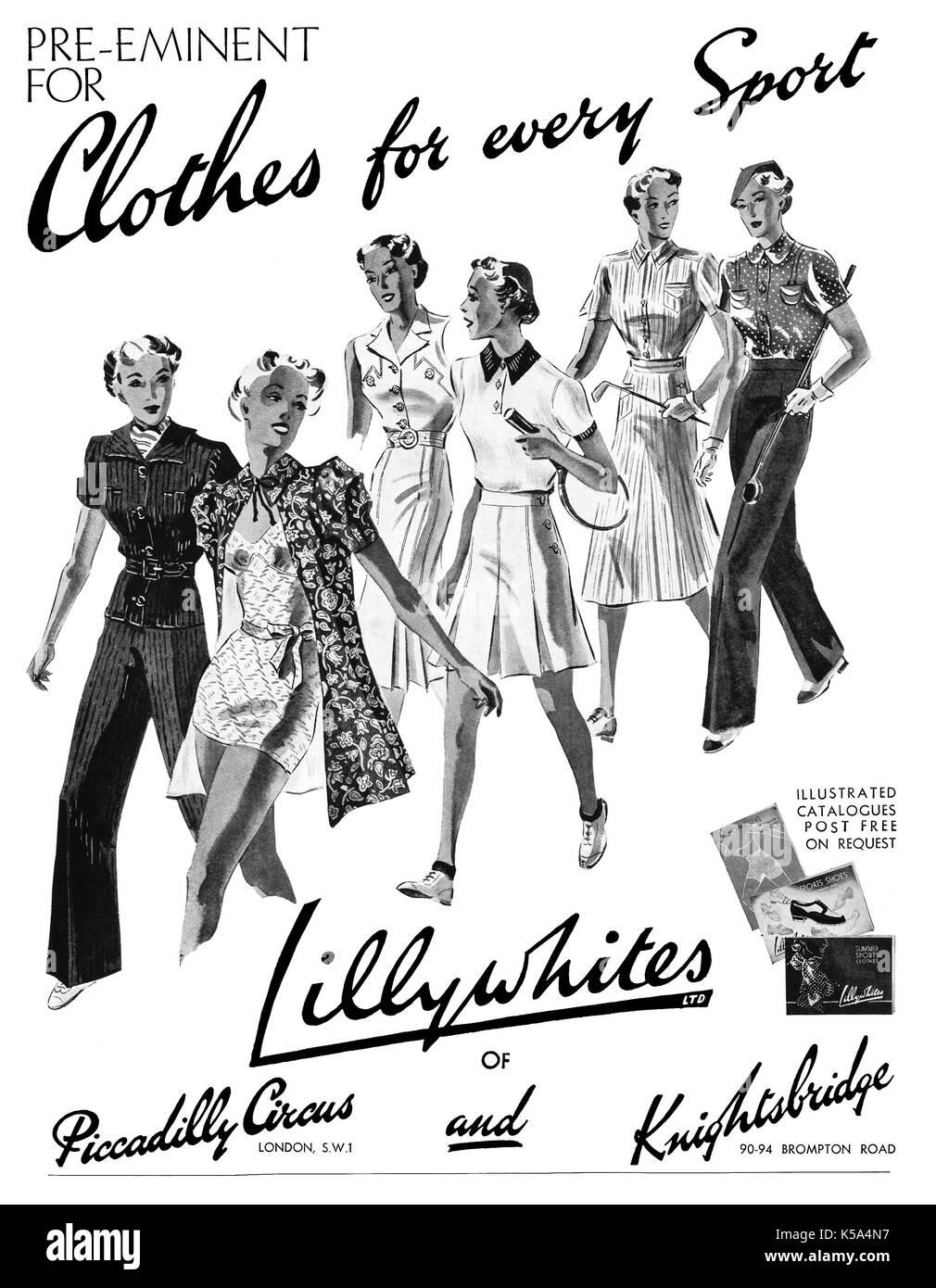 sale retailer 62ad1 034cb 1937 britischen Werbung für Lillywhites Sportbekleidung ...