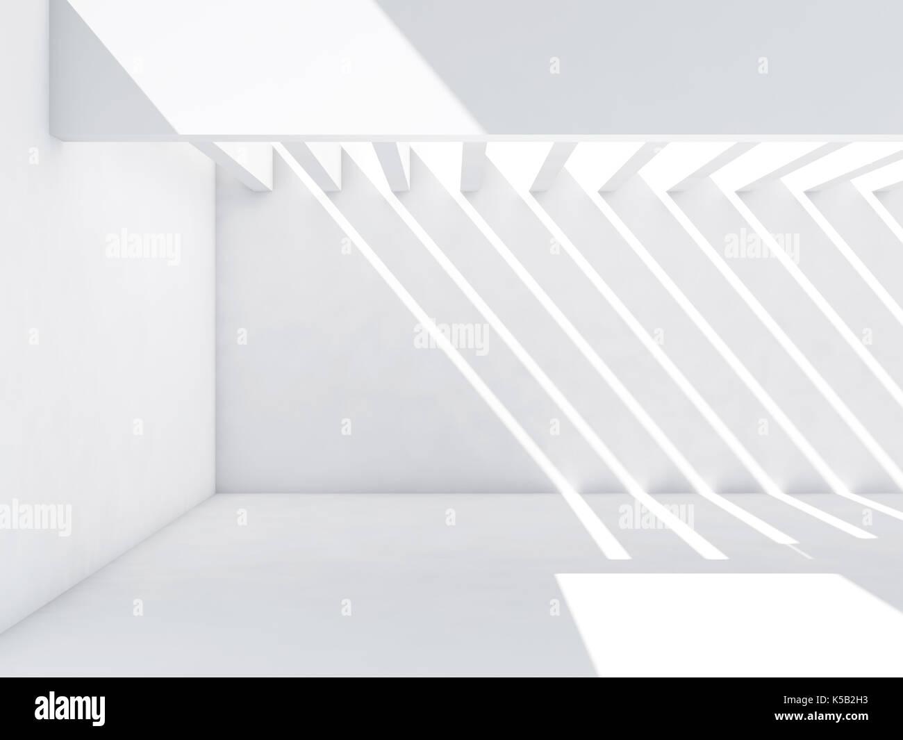 Abstrakte Leeren Innenraum Hintergrund. Weiße Zimmer Mit Muster Der  Lichtstrahlen über Die Wände Stockbild