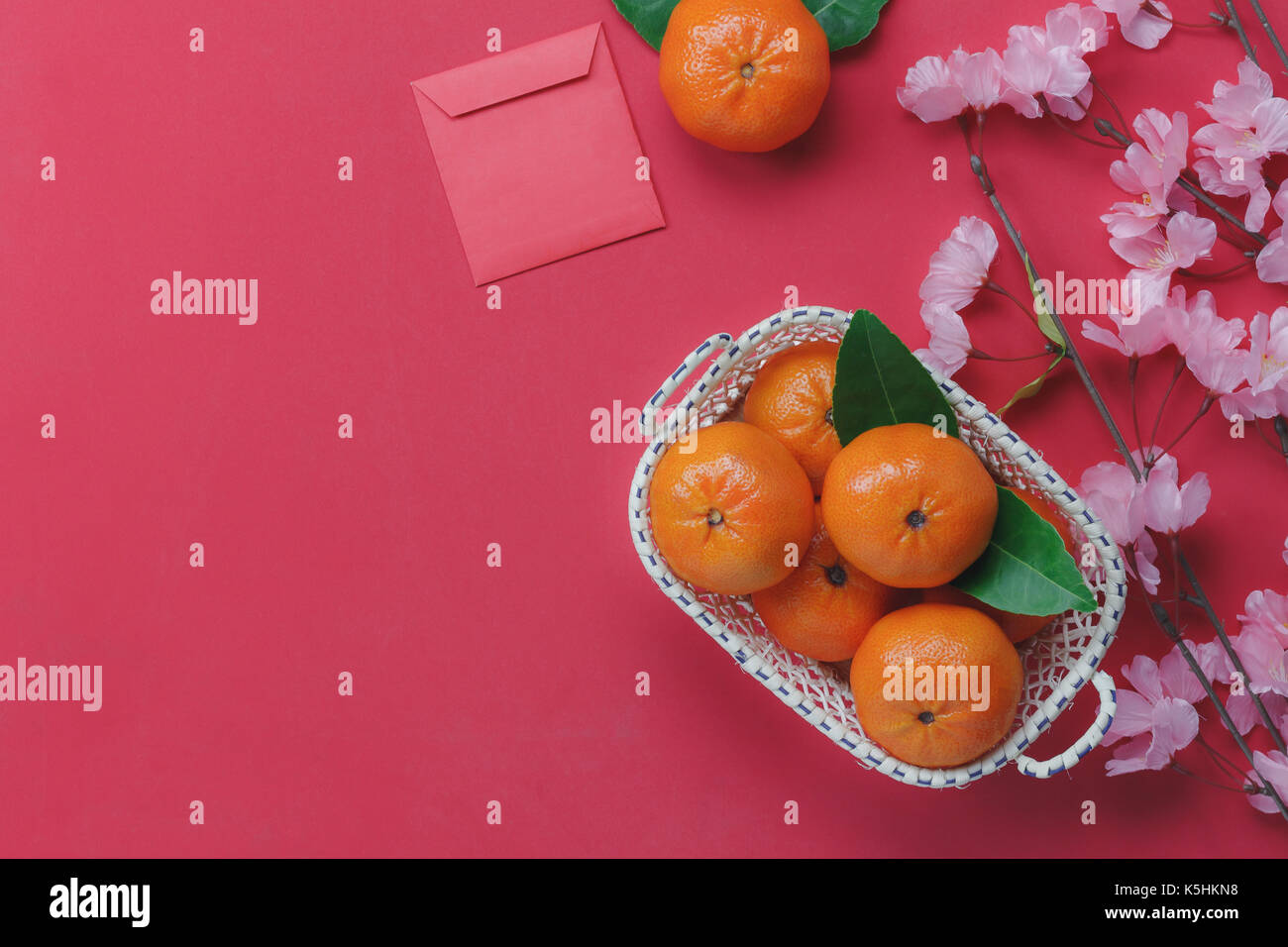 Oben Ansicht von oben Dekoration Happy Chinese New Year Hintergrund ...